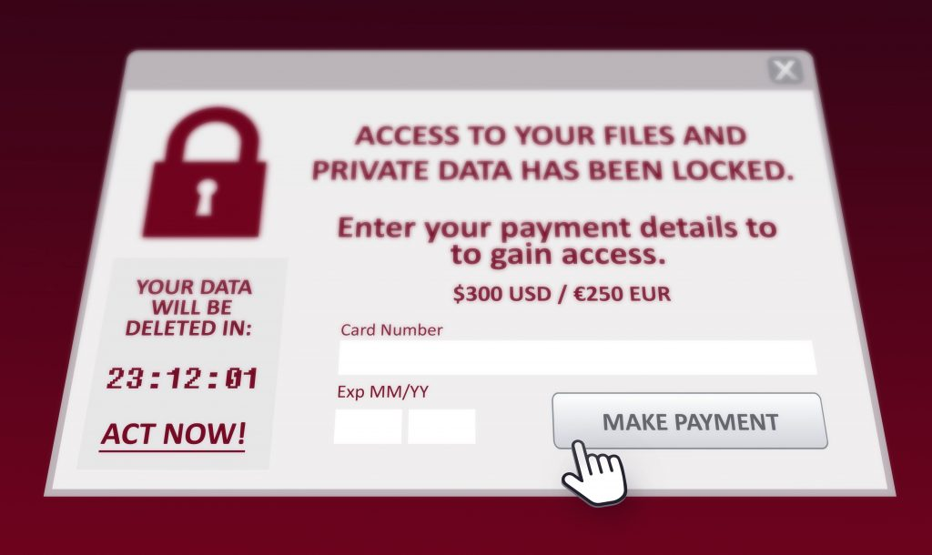 Ransomware pop up offering data access for payment